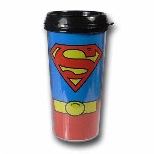 Superman mugsupcostplsttrvl Superman Costume Plastic Travel Mug Perspective: front
