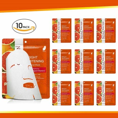 Natural Solution Facial Mask, Blood Orange & Vitamin C, Silk Mask with Pink Salt   Pack of 10 Perspective: front