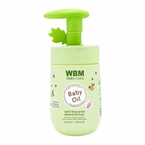 WBM Baby Care Oil, Moisturizing Body Massage Oil, 100% Natural Ingredients, Vitamin E- 4.6 Oz Perspective: front