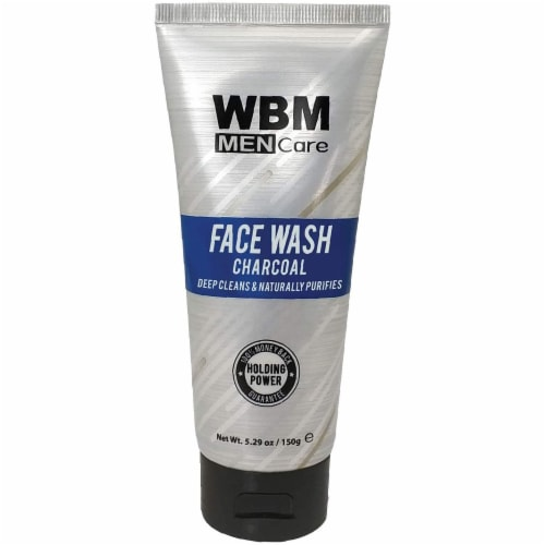 WBM Men Care Face Wash, Purifying & Hydrating Charcoal Cleanser, For All Skin Types | 5.29 Oz Perspective: front
