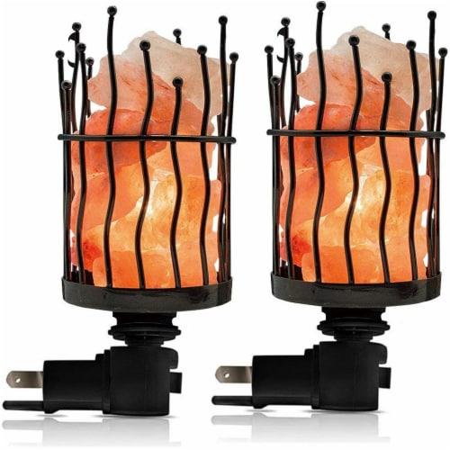 Himalayan Glow Pink Salt Wall Plug in Lamp, 360° Rotatable Base, Pillar Nightlight   2 Packs Perspective: front