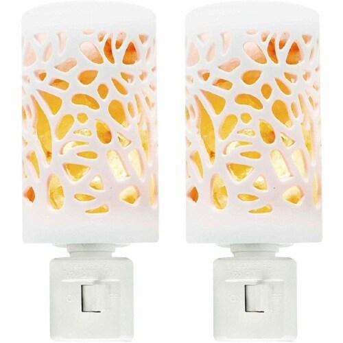 Himalayan Glow Bedroom Decoration Lamp, Warm Amber Glow, Natural Salt Night Light | 2 Pack Perspective: front