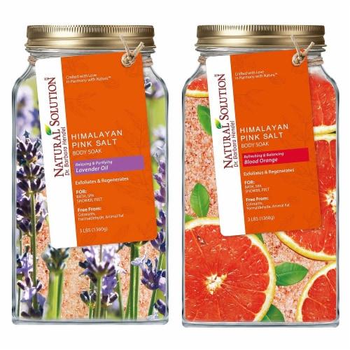 Natural Solution Bath Salt, Blood Orange & Lavender Oil Body Soak   2 Packs – 3 lbs Each Perspective: front