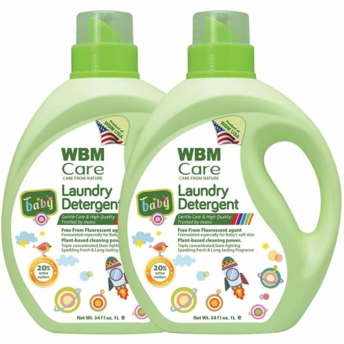 W Home Baby Laundry Detergent, Hypoallergenic, Removes Tough Stains   2 Packs   34 Oz Each Perspective: front