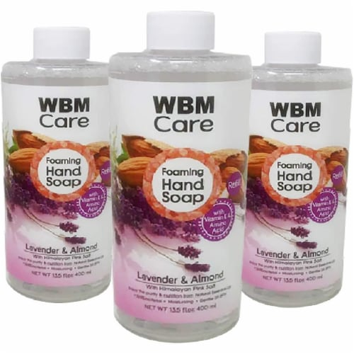 WBM Care Foaming Hand Soap, Liquid Hand Soap Refill with Lavender & Almond Oil, Pack of 3/13. Perspective: front
