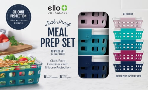 Ello DuraGlass Meal Prep Food Storage Container Set Perspective: front