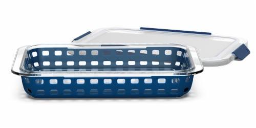 Ello DuraGlass Casserole Dish with Lid - Mazarine Blue Perspective: front