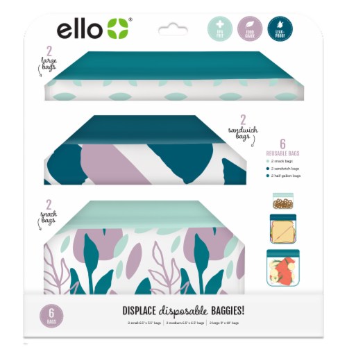 Ello Spring Flowers Reusable Bags Perspective: front