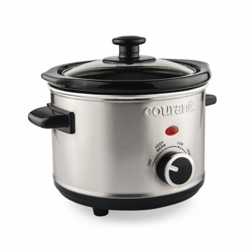 1.5 Quart Slow Cooker, Stainless Steel Perspective: front