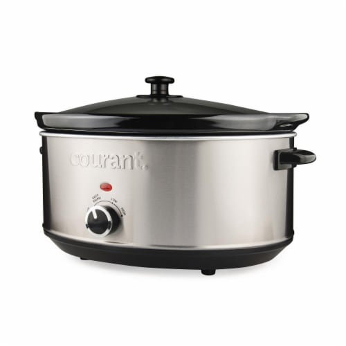 7.0 Quart Oval Slow Cooker, Stainless Steel Perspective: front
