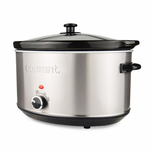 8.5 Quart Oval Slow Cooker, Stainless Steel Perspective: front