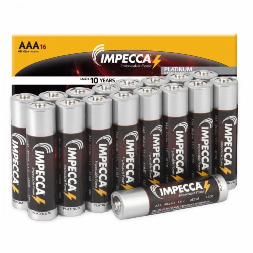 IMPECCA AAA Batteries High Performance Alkaline Battery Long Lasting, and Leak Resistant, LR6 Perspective: front
