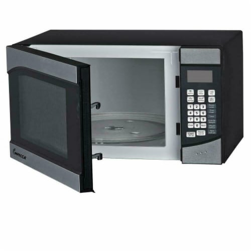 Impecca 0.9 Cu Ft Microwave Oven in Stainless Steel Perspective: front
