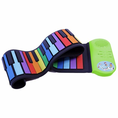 Riptunes ERK-4902 Roll It Up Musical Keyboard with 49 Colorful Keys, Green Perspective: front