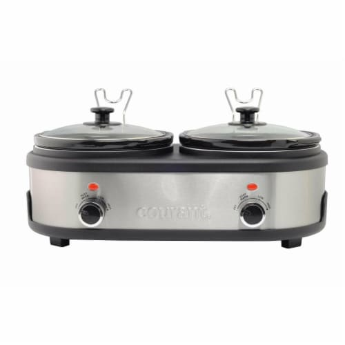 Courant 2.5 QT Double Slow Cooker - Stainless Steel Perspective: front