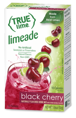 True Lime Black Cherry Limeade Drink Mix Packets Perspective: front