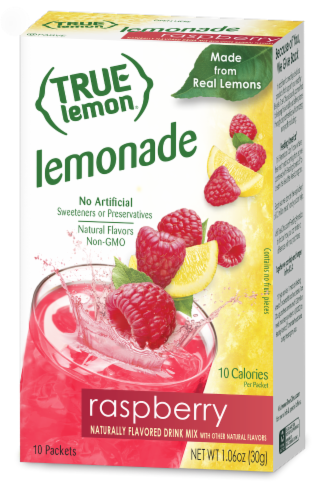 True Lemon Raspberry Lemonade Drink Mix Packets Perspective: front