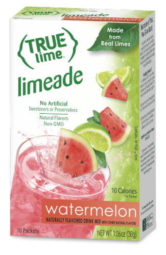 True Lime Watermelon Limeade Drink Mix Packets Perspective: front