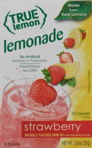 True Lemon Strawberry Lemonade Drink Mix Packets Perspective: front