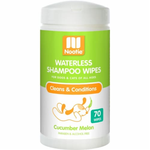 Nootie 64102200 Cucumber Melon Dog & Cat Waterless Shampoo Wipes - 70 Count Perspective: front