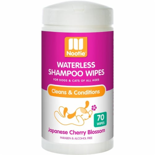 Nootie 64102201 Japanese Cherry Blossom Dog & Cat Waterless Shampoo Wipes - 70 Count Perspective: front