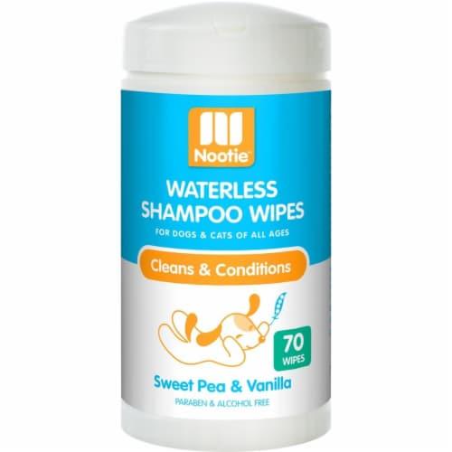 Nootie 64102202 Sweet Pea & Vanilla Dog & Cat Waterless Shampoo Wipes - 70 Count Perspective: front