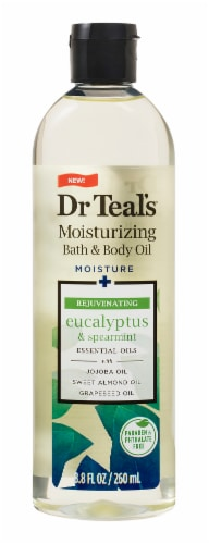 Dr Teal's Eucalyptus & Spearmint Body & Bath Oil Perspective: front