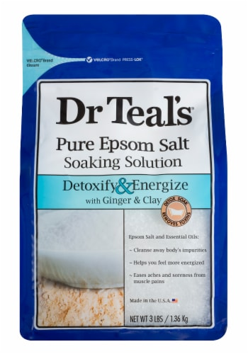 Dr Teal's Detoxify & Energize Pure Epsom Salt Soaking Solution With Ginger & Clay Perspective: front