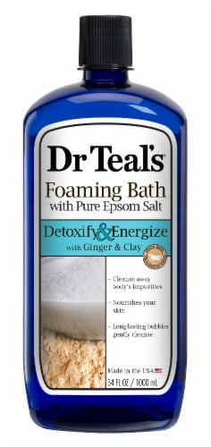 Dr Teal's Detoxify & Energize Epsom Salt Foaming Bath With Ginger & Clay Perspective: front