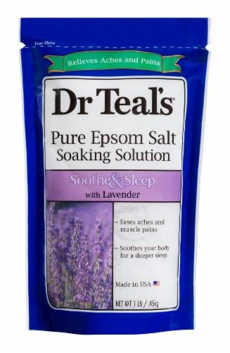 Dr Teal's Soothe & Sleep Lavender Pure Epsom Bath Salt Soak Trial Size Perspective: front