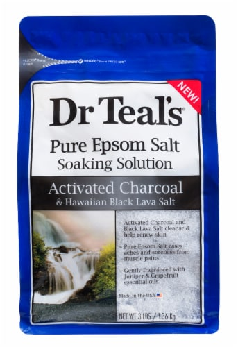 Dr Teal's Activated Charcoal and Hawaiian Lava Salt Epsom Salt Soaking Solution Perspective: front