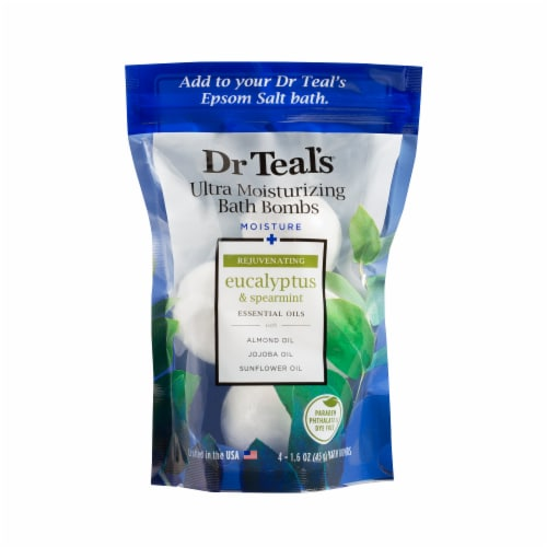 Dr Teal's Eucalyptus and Spearmint Ultra Moisturizing Bath Bombs Perspective: front