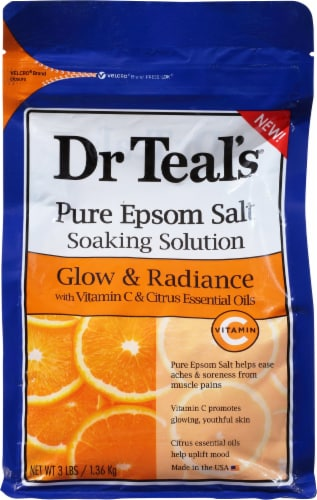 Dr Teal's Glow & Radiance Pure Epsom Salt Soaking Solution Perspective: front