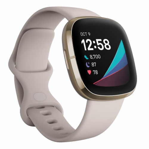 Fitbit Sense - Lunar White / Soft Gold Perspective: front