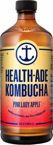 Health-Ade Pink Lady Apple Bubbly Probiotic Tea Perspective: front