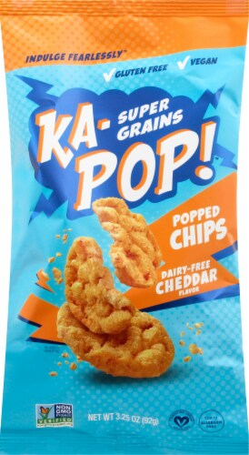 Ka-Pop! Dairy-Free Cheddar Flavor Ancient Grain Popped Chips Perspective: front