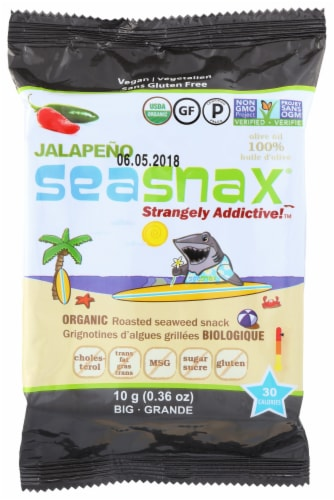 SeaSnax Jalapeno Flavor Organic Roasted Seaweed Snack Perspective: front