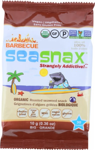 SeaSnax BBQ Flavor Organic Roasted Seaweed Snack Perspective: front