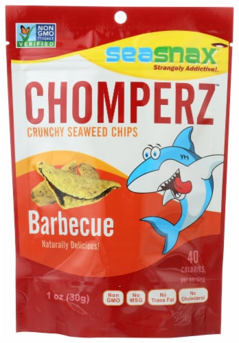 Seasnax Chomperz Crunchy Barbecue Seaweed Chips Perspective: front