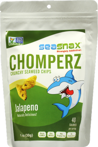 Seasnax Chomperz Crunchy Seaweed Jalapeno Chips Perspective: front