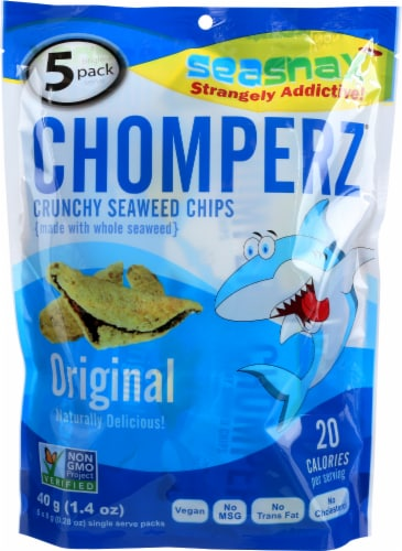 SeaSnax Chomperz Original Crunchy Seaweed Chips Perspective: front