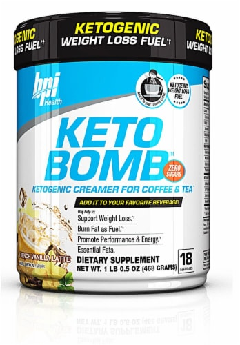 bpi Health KETO BOMB French Vanilla Latte Ketogenic Creamer For Coffee & Tea Perspective: front