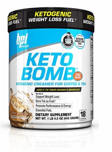 BPI  Sports KETO BOMB™ Ketogenic Creamer For Coffee & Tea   Caramel Macchiato Perspective: front