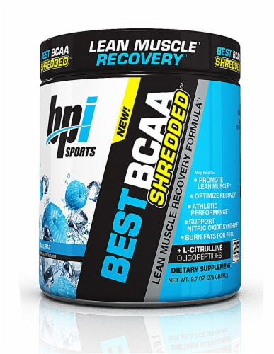 BPI  Sports BEST BCAA SHREDDED™   Blue Raz Perspective: front