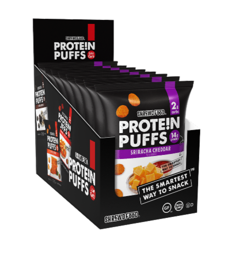Shrewd Food Sriracha Cheddar Protein Puffs Perspective: front