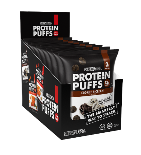 Shrewd Food Cookies & Cream Protein Puffs 8 Count Perspective: front