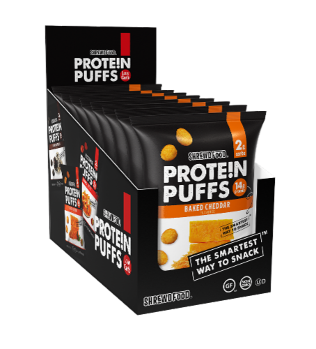 Shrewd Food Baked Cheddar Protein Puffs Perspective: front