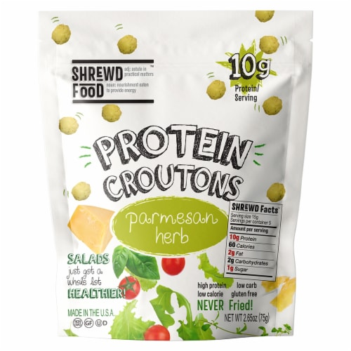 Shrewd Food Parmesan Herb Protein Croutons Perspective: front