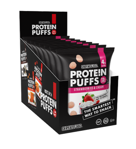 Shrewd Food Strawberries & Cream Protein Puffs 8 Count Perspective: front