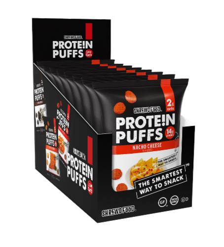 Shrewd Food Nacho Cheese Protein Puffs Perspective: front